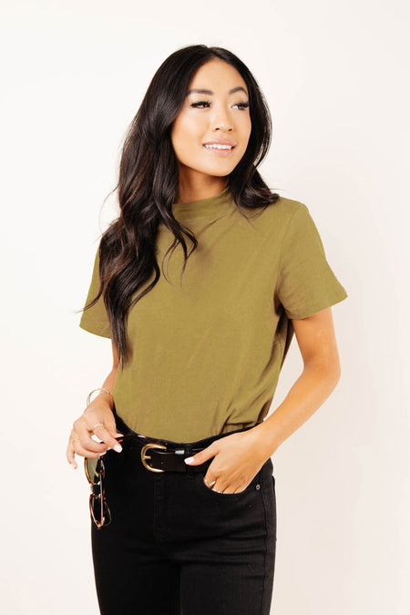 Clara Mock Neck Tee in Olive
