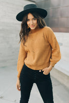 Lennon Mock Neck Sweater in Camel