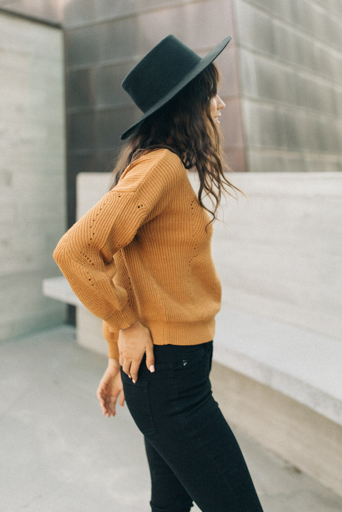 Lennon Mock Neck Sweater in Camel - Bohme