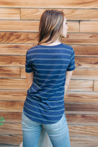 Ainsley Striped Top in Navy - Bohme
