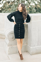 Kingsley Corduroy Button Skirt in Black - Bohme