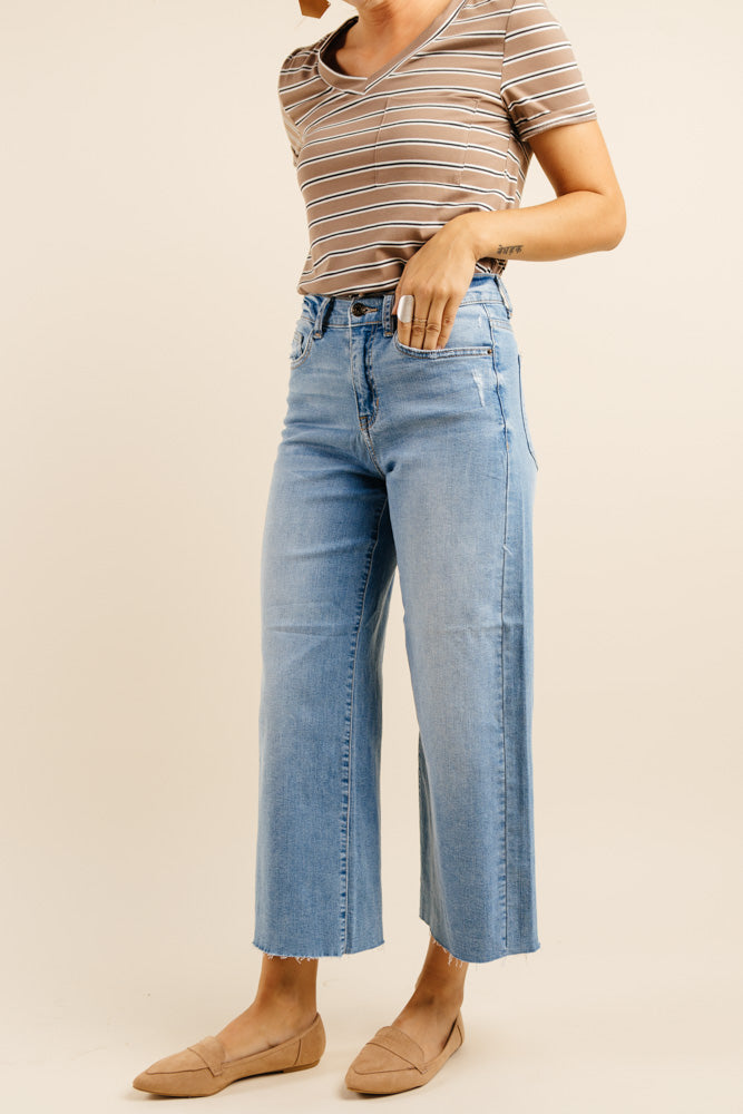Yandow Wide Leg Cropped Denim - Bohme