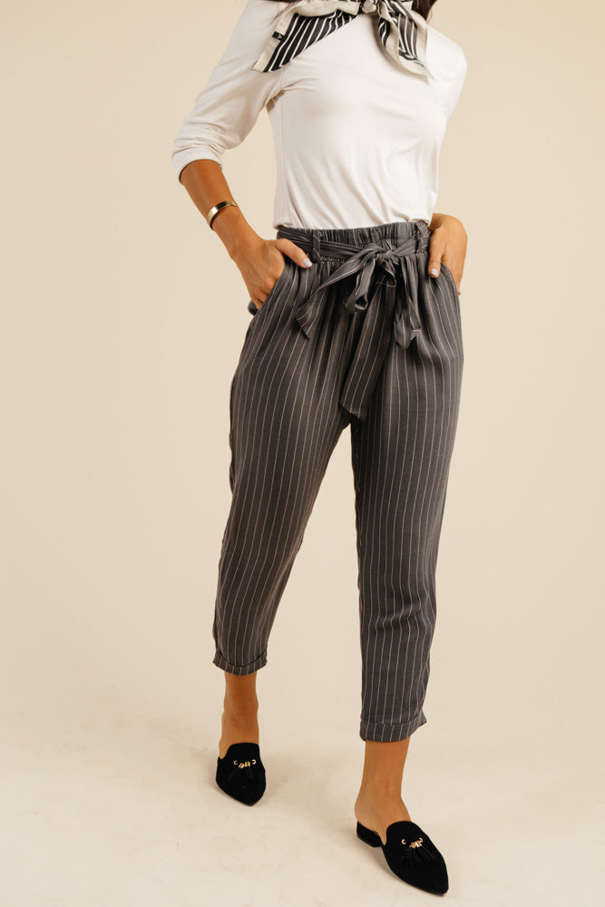 Bonheur Striped Tapered Pants in Charcoal