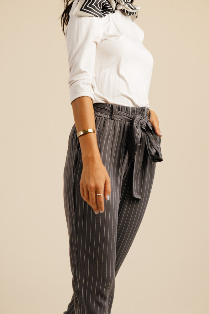 Bonheur Striped Tapered Pants in Charcoal - Bohme