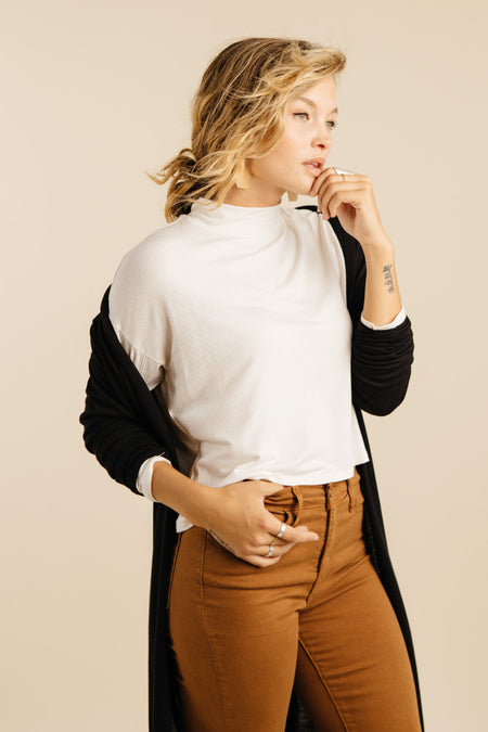 Crespo Cropped Mock Neck in Ivory - Bohme