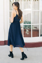 Tatum Pleated Dress in Navy - Bohme