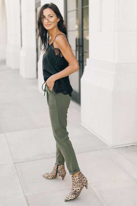 KanCan Ruffle Trim Pants in Olive