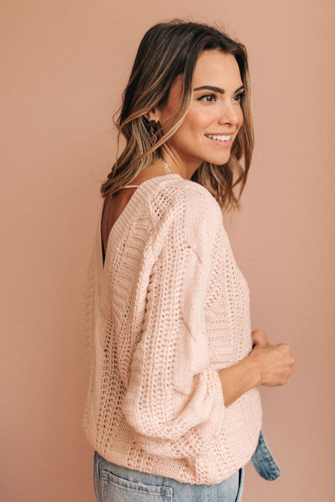 V Back Sweater in Rose