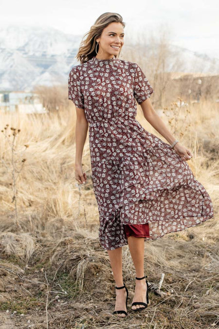 Tessa Floral Dress in Wine-FINAL SALE