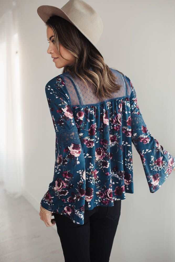 Florally Yours Mesh Yoke Top - FINAL SALE