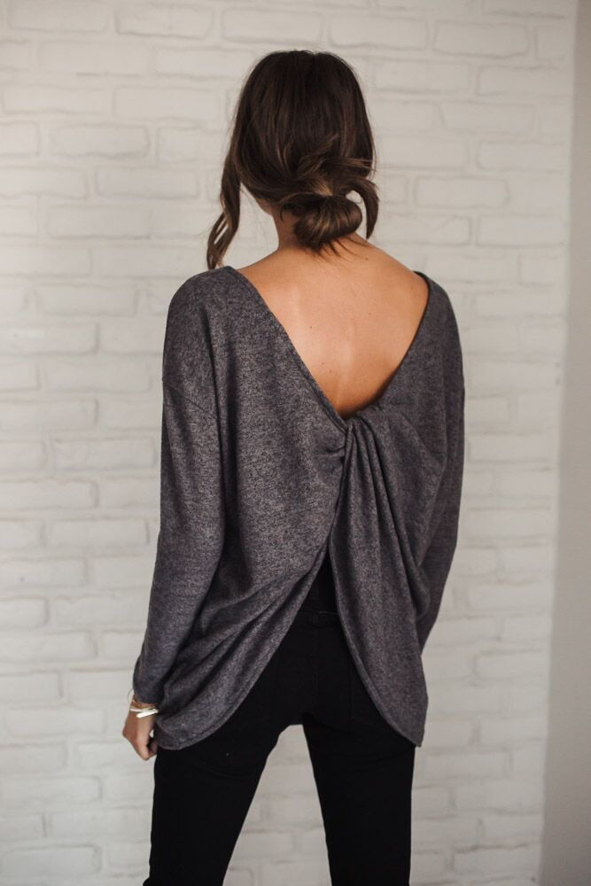 I've Knot Your Back Soft Grey Top