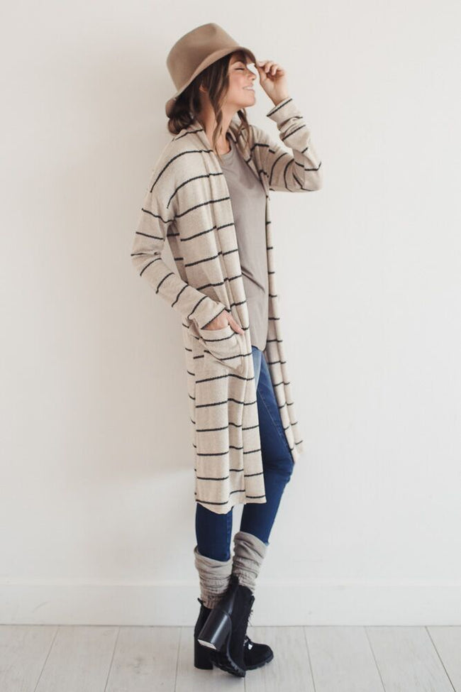 Just My Stripe Long Cardigan
