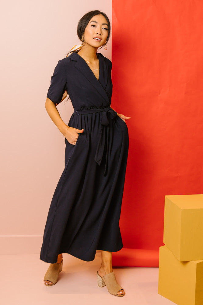 Darcy Collared Maxi Dress In Navy - Final Sale