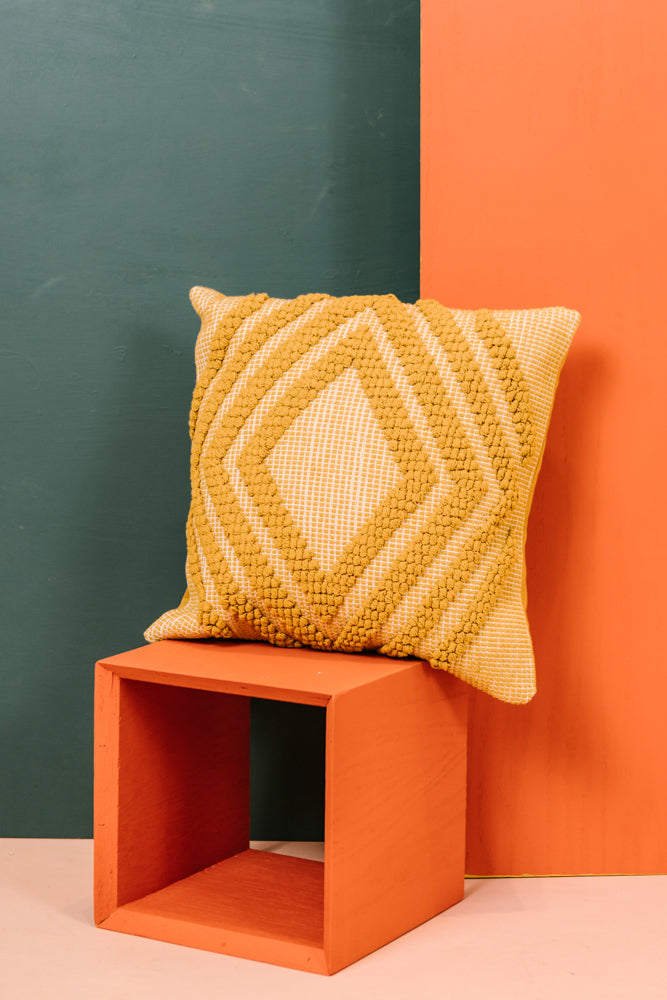 Macramé Pillow in Mustard bohme