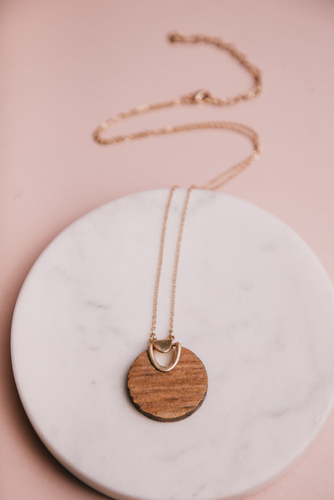 Wood Post Pendant Necklace
