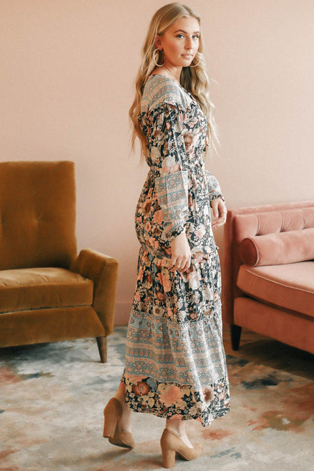 Arielle Floral Maxi Dress in Blue-FINAL SALE