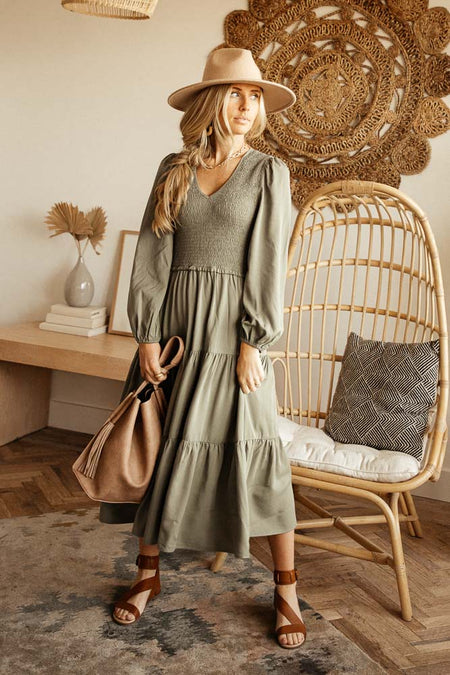 Smocked Tiered Midi Dress in Sage