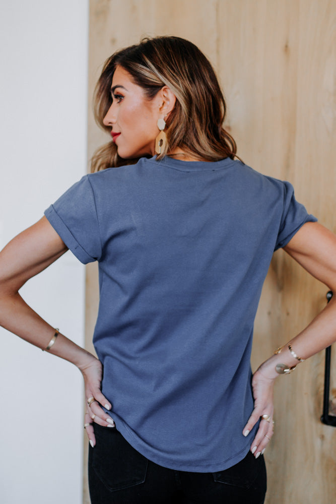 Selena Rolled Sleeve Tee in Blue