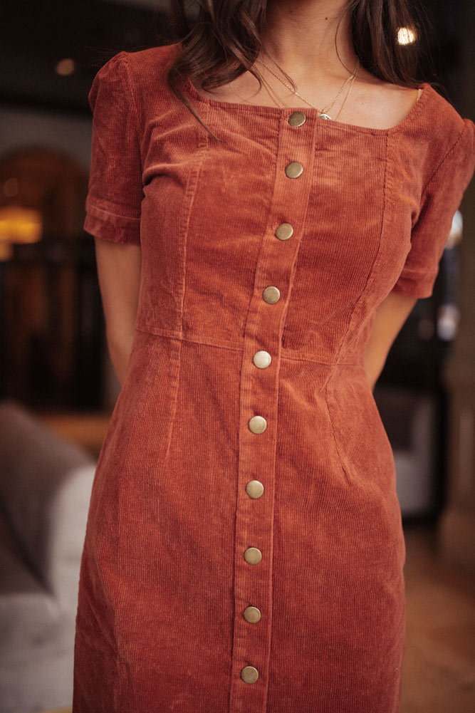 Laurel Corduroy Dress in Rust - FINAL SALE