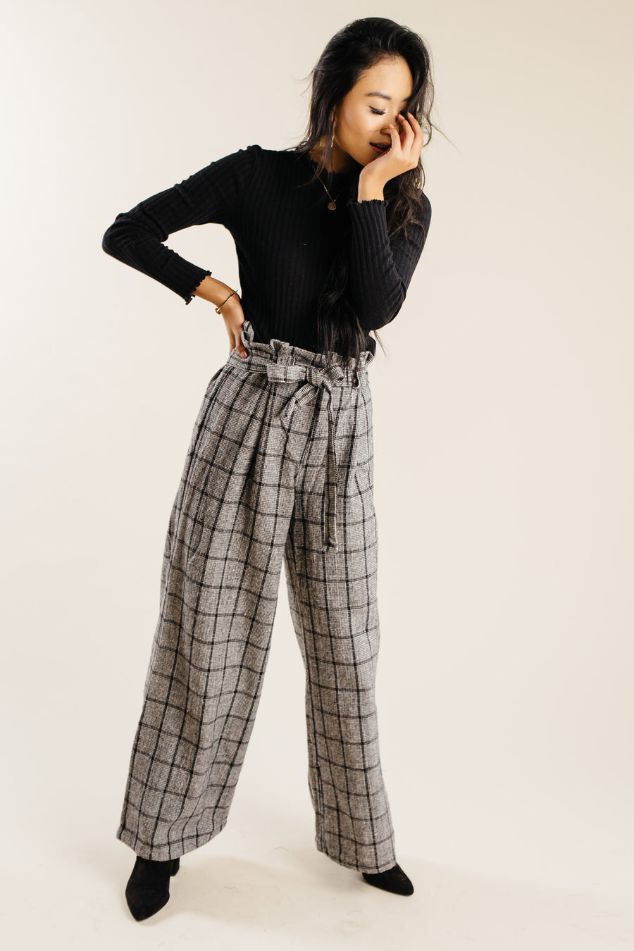 High Rise Plaid Pants Bohme