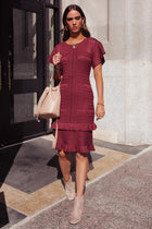 Ivah Fitted Patterned Dress in Burgundy-FINAL SALE