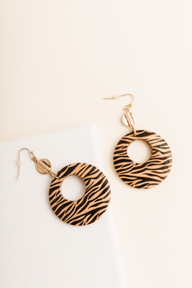 Zebra Circle Earrings
