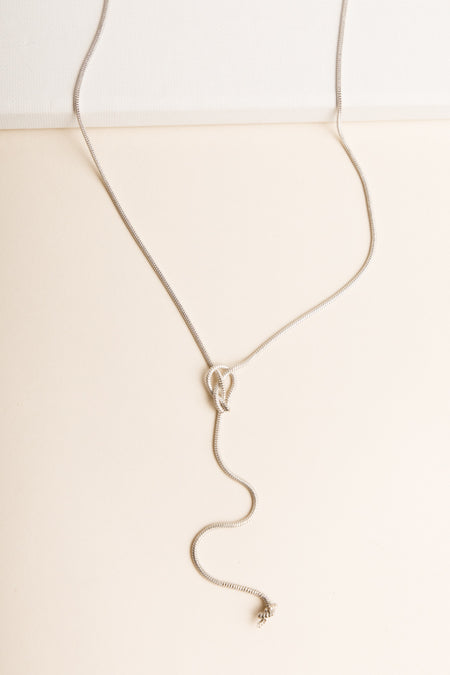 Tied Knot Necklace in Silver