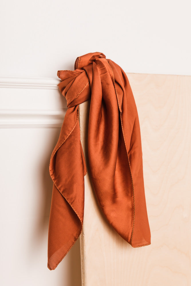 Blair Silk Scarf in Rust