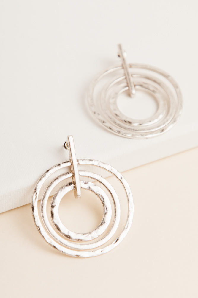 Round + Round Silver Earrings