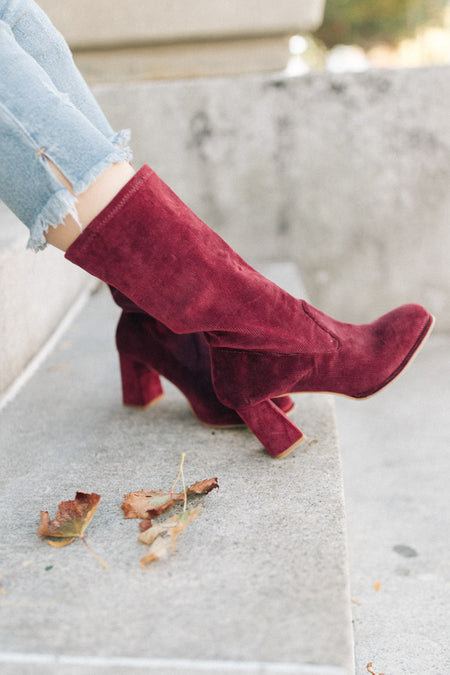 Noelani Corduroy Boots in Wine-FINAL SALE