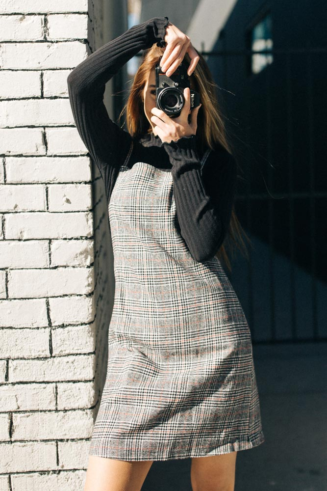 Plaid Jumper Dress Bohme