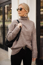 Vero Moda Bethany Oversized Roll Neck Sweater in Taupe-FINAL SALE