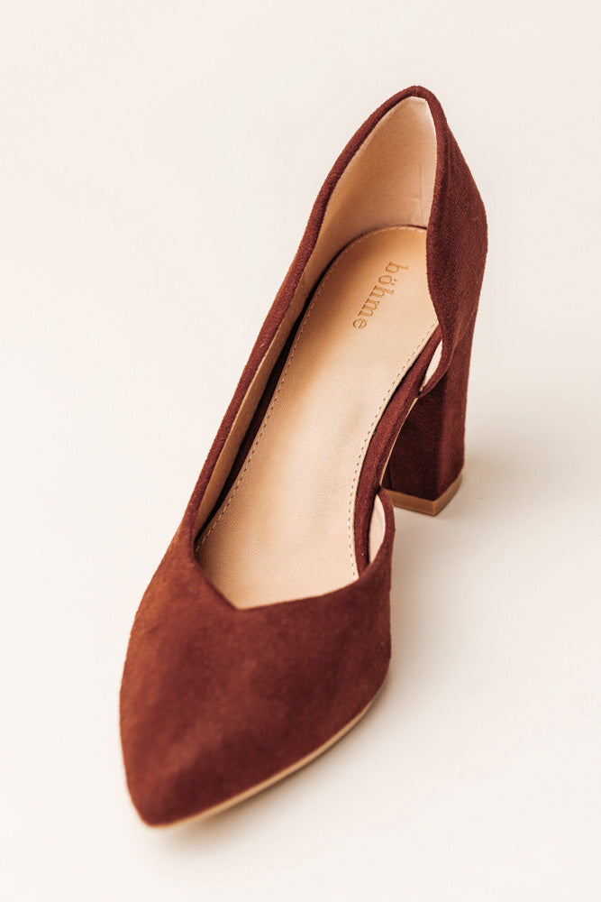Celeste Open Side Heel in Rust