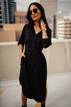 Piper Button Down Dress in Black