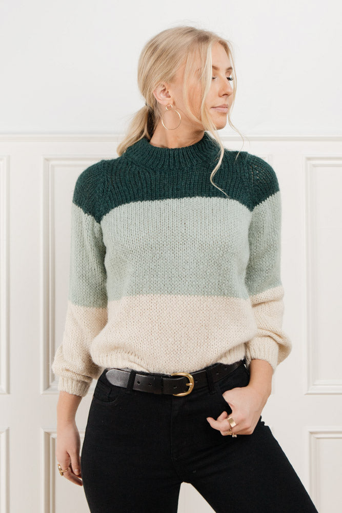 Becca Color Block Sweater in Teal