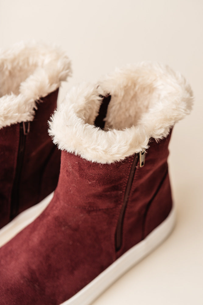 MIA Merion Fur Sneakers in Burgundy-FINAL SALE