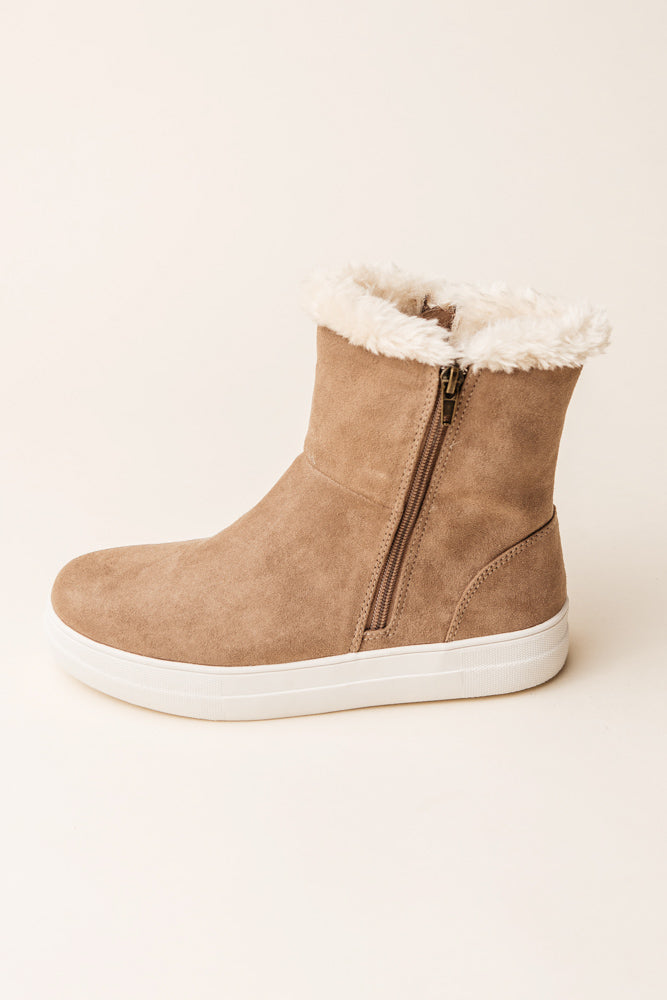 MIA Merion Fur Sneakers in Taupe