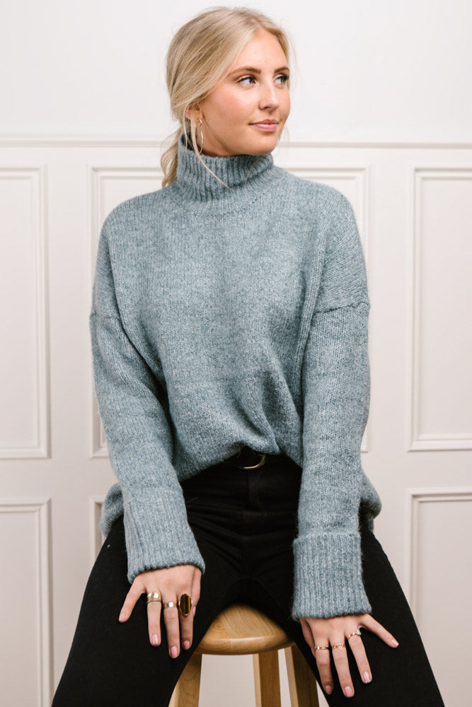 Vero Moda Bethany Oversized Roll Neck Sweater in Teal-FINAL SALE