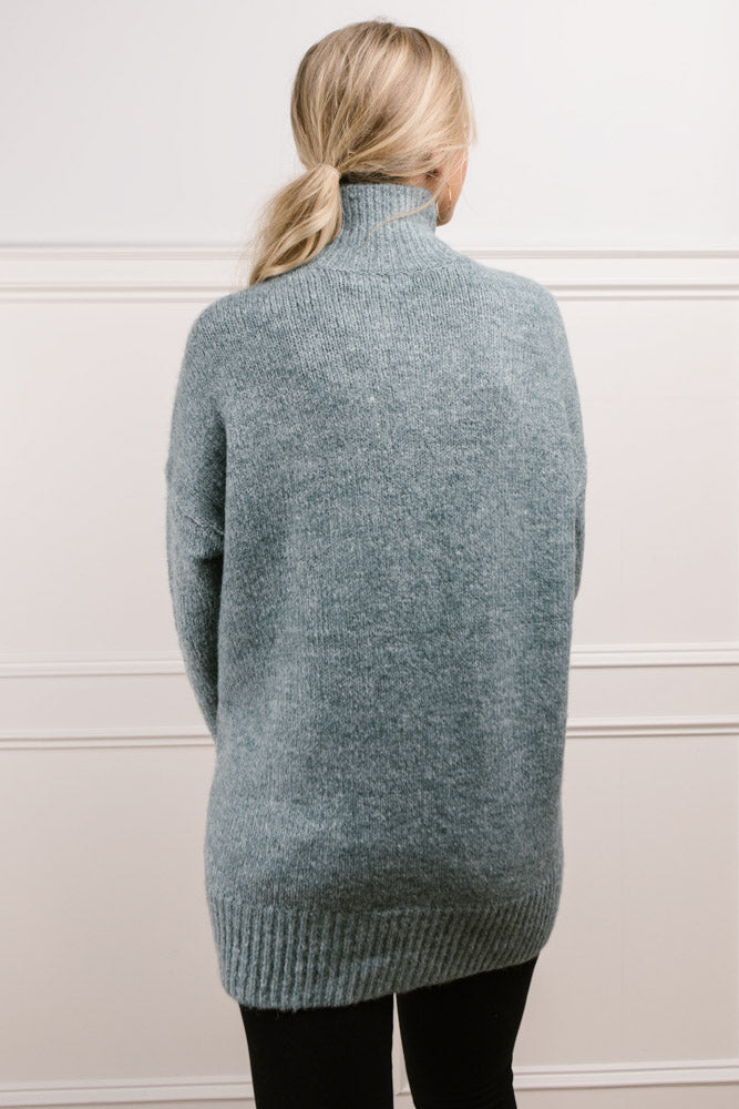 Bethany Oversized Roll Neck Sweater in Teal