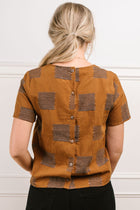Charley Button Back Top in Brown