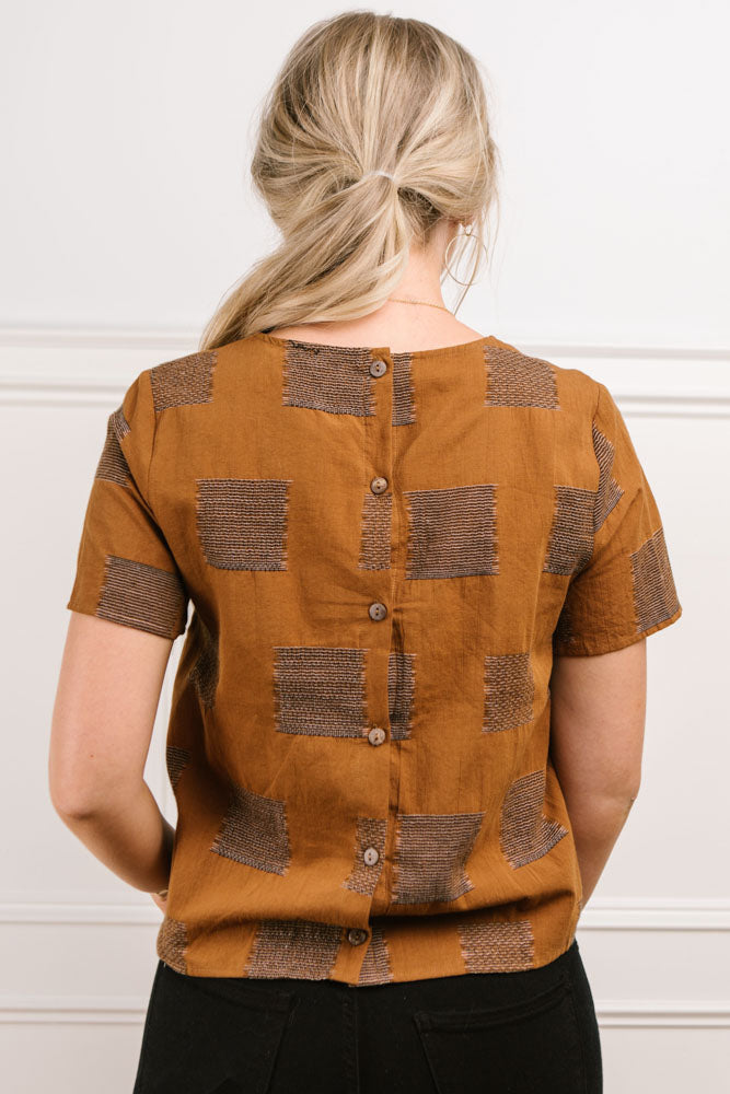 Charley Button Back Top in Brown - FINAL SALE