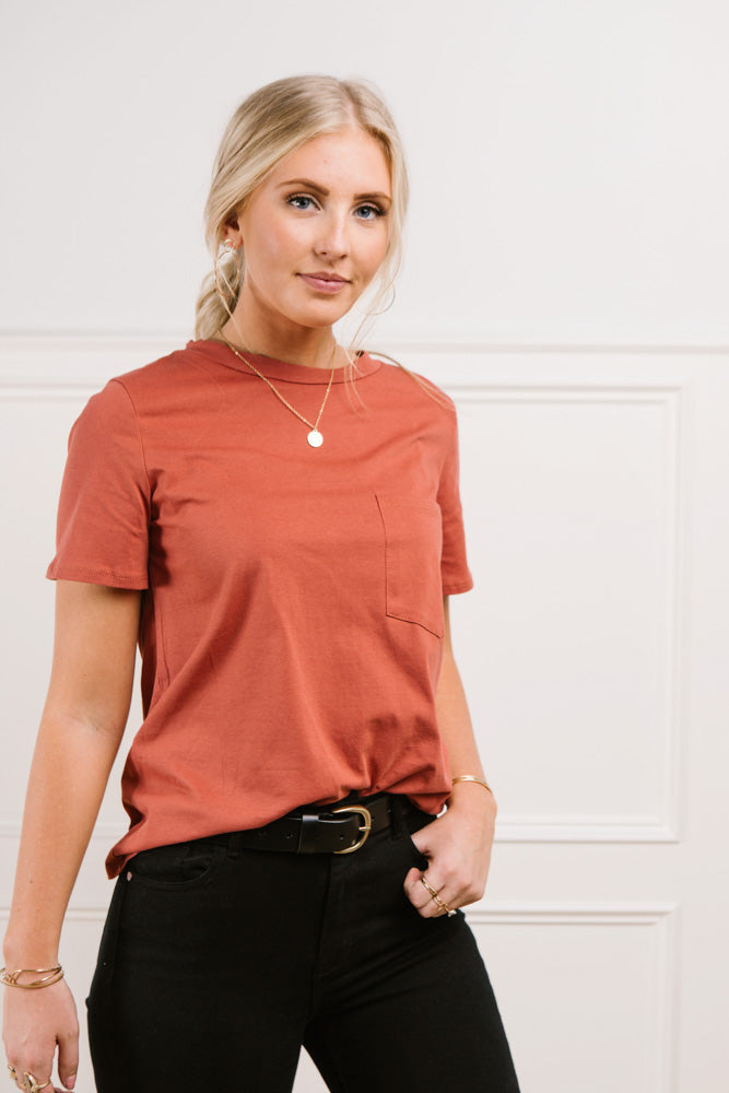 Mallory Pocket Tee in Rust