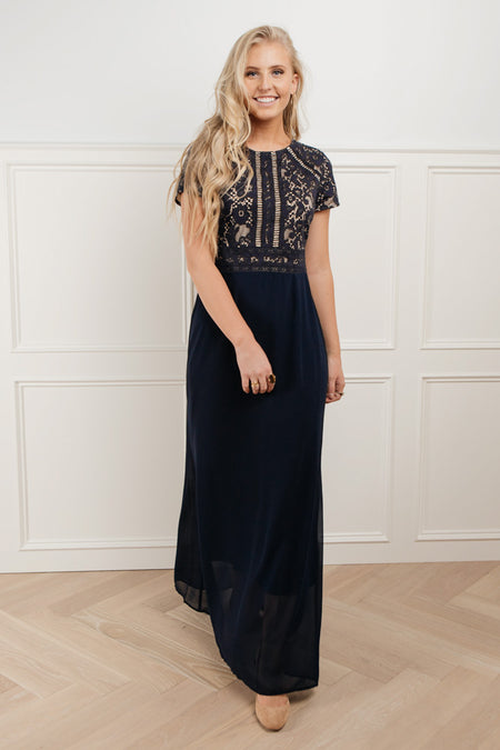 Myla Lace Maxi Dress in Navy