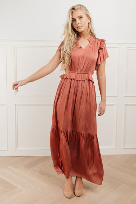 Marley Flutter Sleeve Dress in Mauve