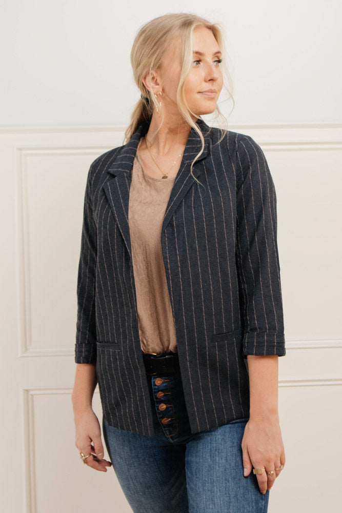 Goldy Pinstriped Blazer in Navy