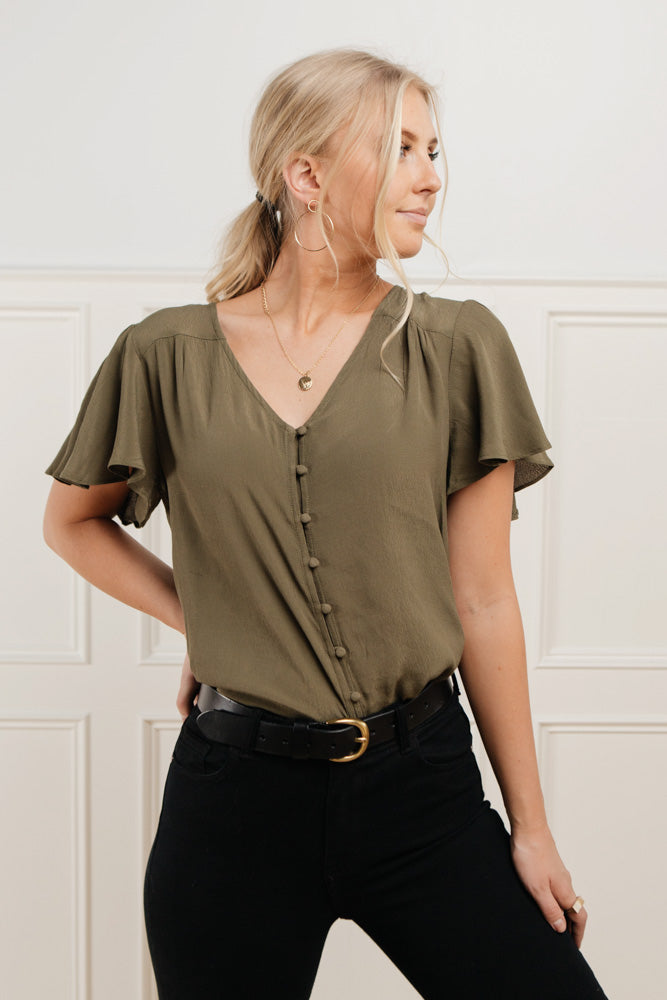 Gracyn Button Down Blouse in Olive