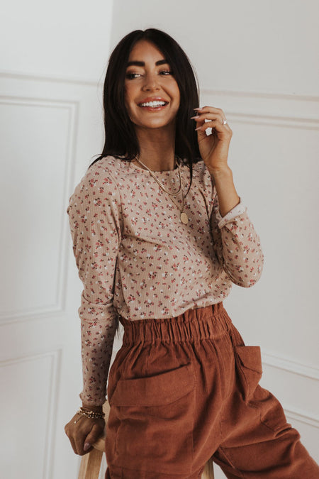 Floral Crew Neck Top in Blush
