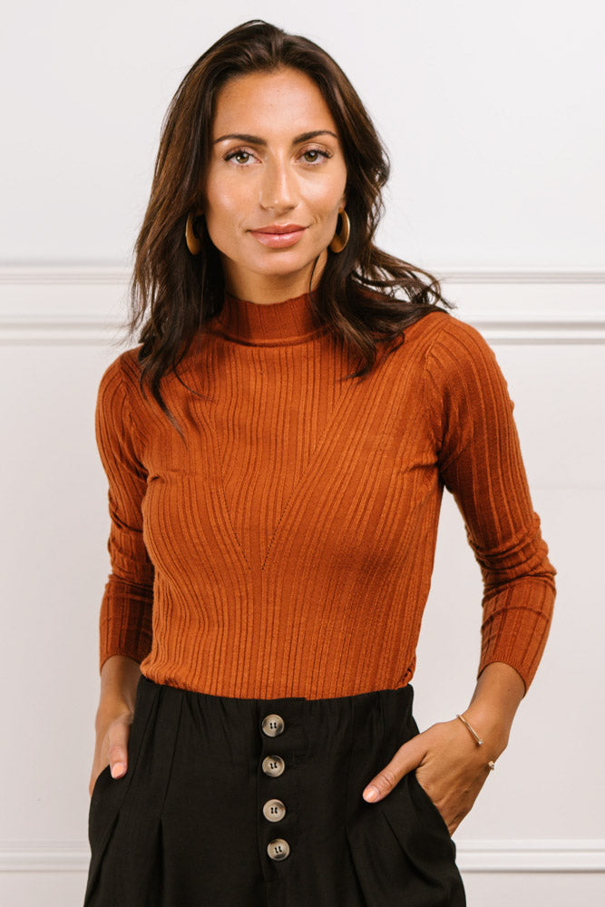 Ivy Ribbed Long Sleeve Top in Rust