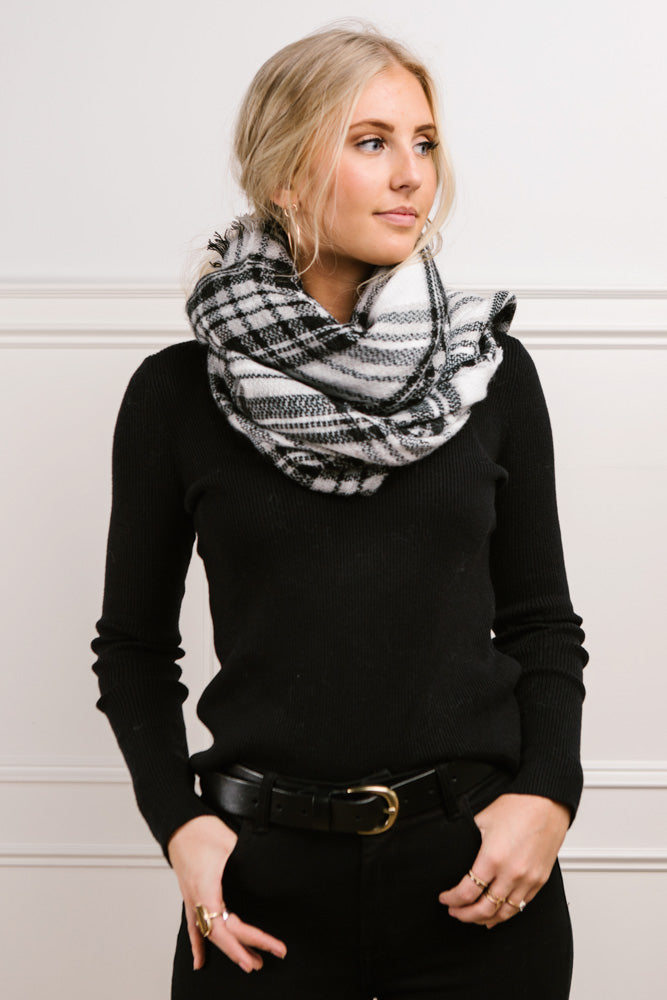Berlin Plaid Scarf in White