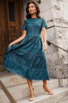 Divine Lace Midi Dress in Teal